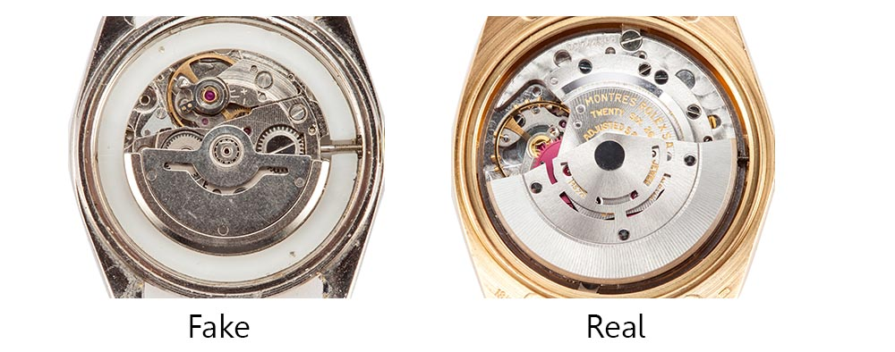 real vs fake rolex movement