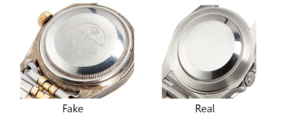 real vs fake rolex caseback
