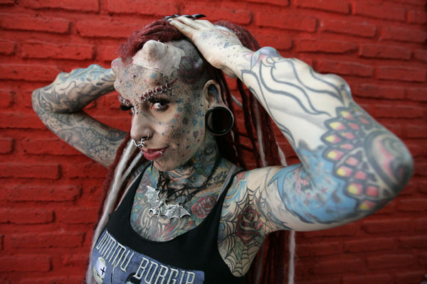 Maria Jose Cristerna, a mother of four, tattoo artist and former lawyer, poses for a photograph in Guadalajara