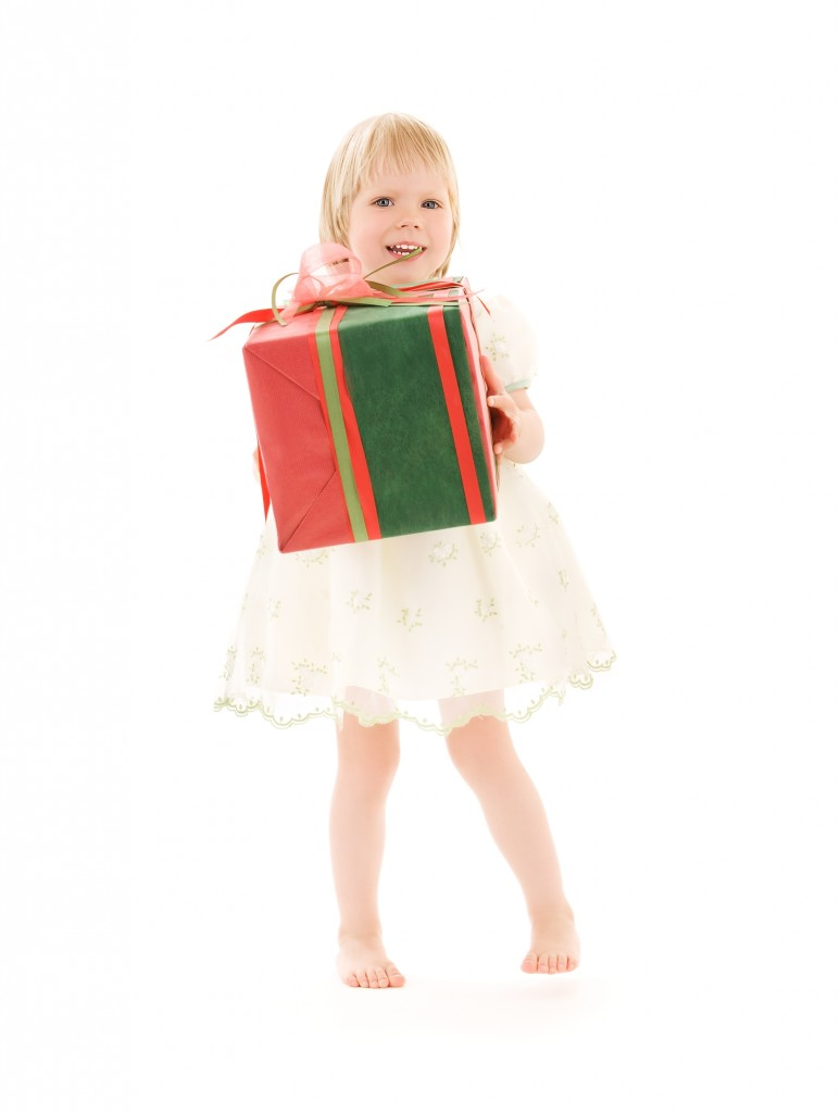 picture of girl with gift box over
